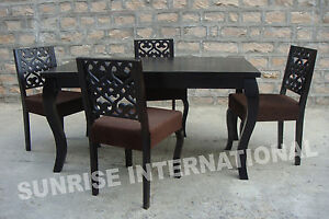 French Style Wooden Dining Table With 4 Cushion Chairs Furniture Set EBay
