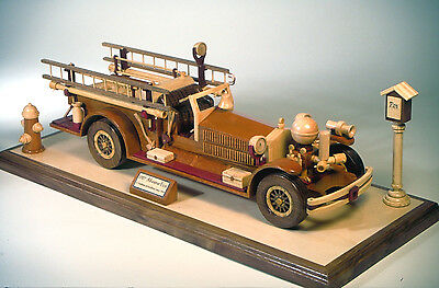 Woodworking plan to build a firetruck in wood.  A detailed 1927 fire engine
