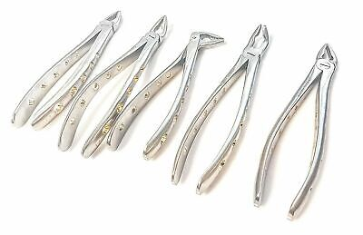 5 Pcs Dental Atraumatic Extracting Forceps F1 2347 Diamond Dusted Gold Handl