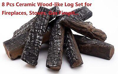 8 Piece Wood Like Decorative Ceramic Log Set For Fireplaces Stoves  Gas Firepit