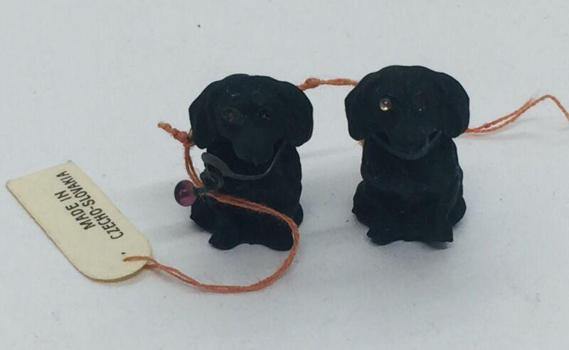 2 Antique Czech Glass Black & Figural Black Dog Charm Pendants