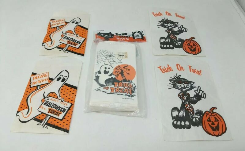 Halloween Treat Candy Bags Target 1980s 80s VTG Ghost Jack O Lantern Cat