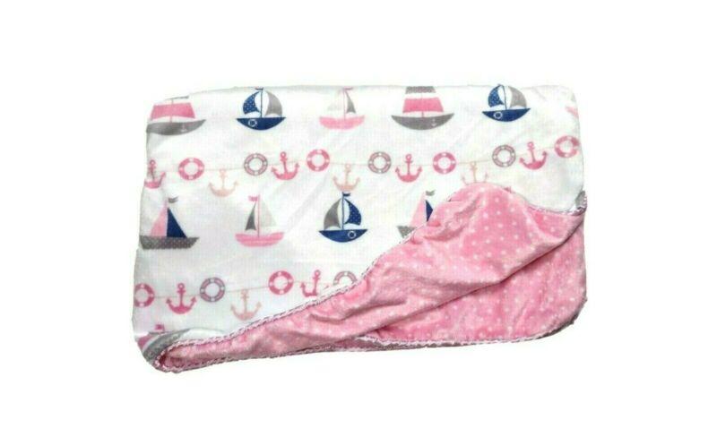 SL Home Fashions Sail Boat Pink Polka Dot Baby Blanket Anchors Nautical 119741