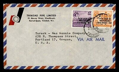 DR WHO 1967 TRINIDAD INDEPENDENCE OVPT AIRMAIL TO USA  g19955