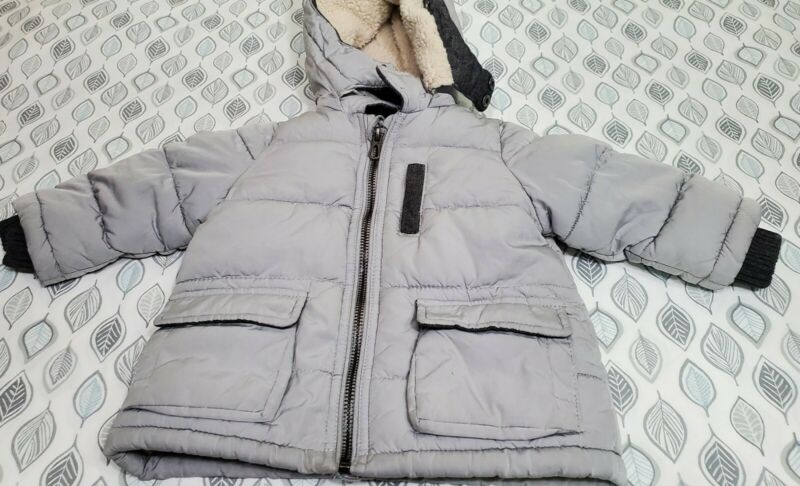 Zara Baby Boy Outerwear Gray Lined Puffer Jacket Winter Coat 6 - 9 Months