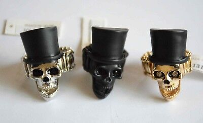 Halloween Skeleton Skull Ring on Stretch Link Band / Choose Finish - Halloween Links