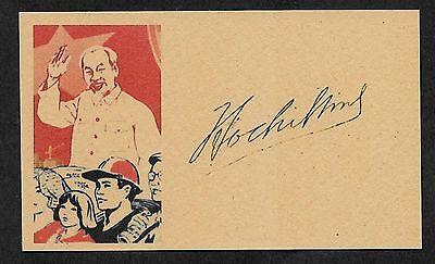 Ho Chi Minh Autograph Reprint On Genuine Original Period 1960s 3X5 Card
