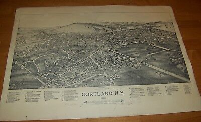 1892 ANTIQUE BIRDS EYE VIEW CORTLAND NY LITHO PRINT POSTER  1974 REPRINT