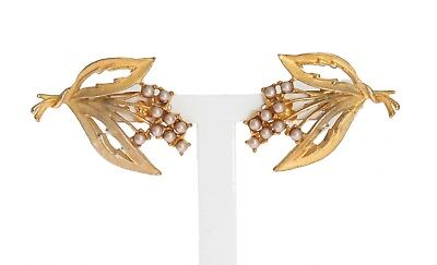 NEW DOLCE & GABBANA Earrings Gold White Crystal Floral Leaves Clip On