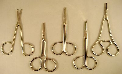 5 Surgical Suture Instruments - Medical Dental Veterinary Craft Scissors Clamp