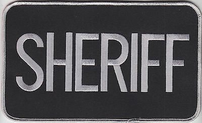 POLICE large back embroidered patch 6 x 11 BLACK with SILVER letters  Sheriff