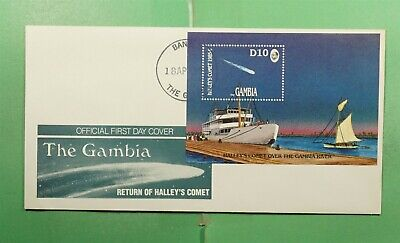 DR WHO 1986 GAMBIA FDC SPACE HALLEYS COMET CACHET S/S  g13437