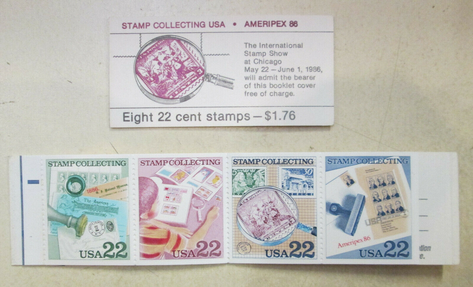 Ameripex 86 Stamp Collecting USA Eight 22 Cent Stamps. - $3.00