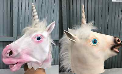 Pair Two Mens Ladies Rubber Unicorn One Size Masks Halloween Costume  - Duo Halloween Costumes For Men