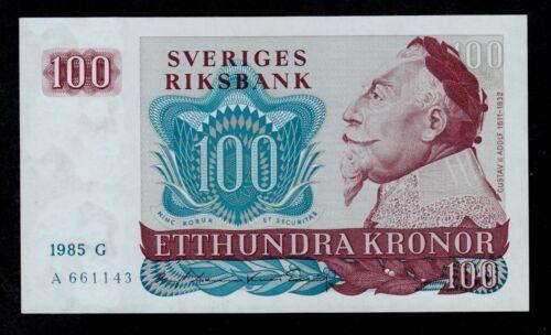 SWEDEN 100 KRONOR 1985 G PICK # 54c UNC.