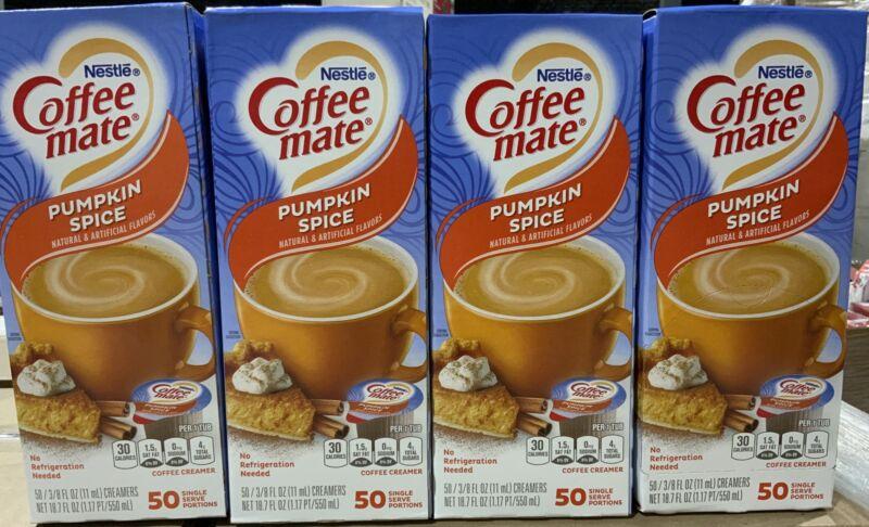 Nestle Coffee Mate Pumpkin Spice Creamers 4-Pack 50 Per Pack 200 Total BBD 4/21