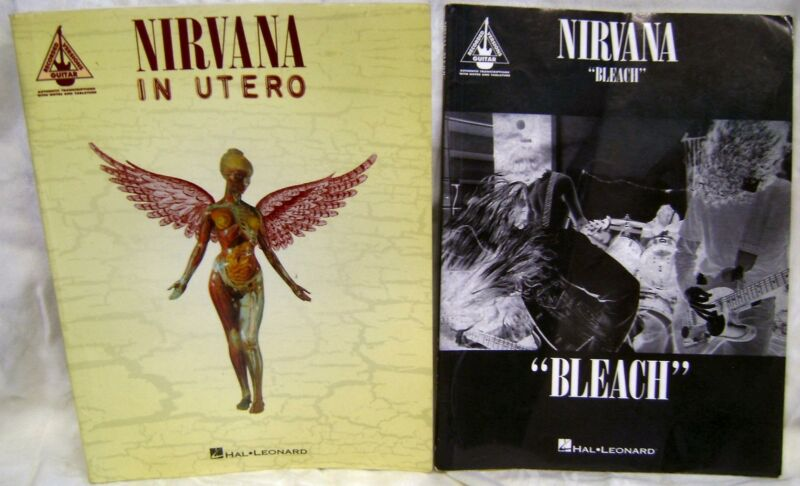 Nirvana~Bleach~In Utero~Guitar~Tab~Music~Song Book~Tablature~Vintage~1994~Photos