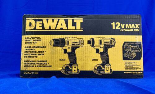 DEWALT DCK211S2 12V MAX Cordless Impact Driver and Drill Com