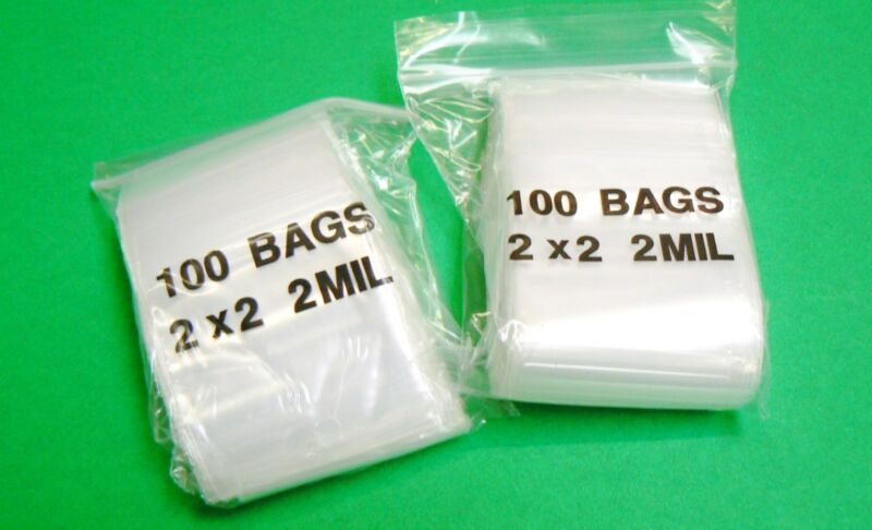 "200 Zip Seal Lock Bags 2x2 Clear 2mil Poly Bag Reclosable Baggies 2"" x 2"""