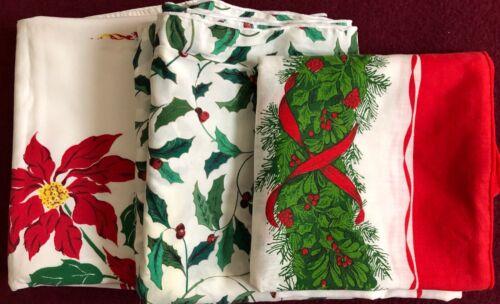 Lot of 3 Vintage Christmas Print Cotton Tablecloths