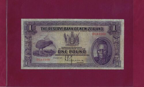 NEW ZEALAND 1 POUND 1934 P-155 F+ RARE BANKNOTE