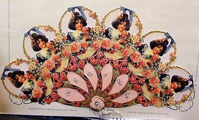 Victorian Embossed Fan Greeting Card ROSES VICTORIAN LASS 'With Best Wishes'
