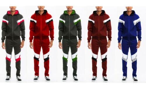 Mens Chevron Color Block Striped Solid Track Jacket Track Pant Track Suit Set