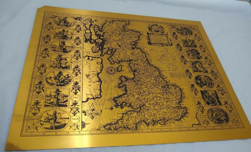 """Vintage Copper Etching of Antique Map of Ancient Britain by Etchmaster 22""""x17"""""""
