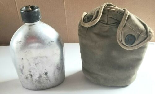 Vintage Military Silver Metal Water Canteen w/ Nylon Pouch Made in Japan