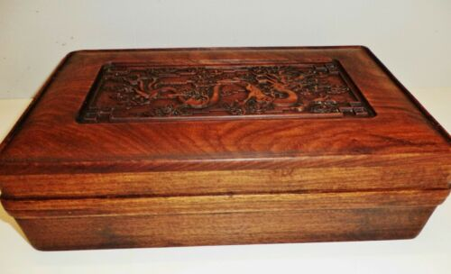 1800s  Qing Dynasty Chinese Sandal wood carved dragon ink slab box 清代檀香木龙纹砚盒