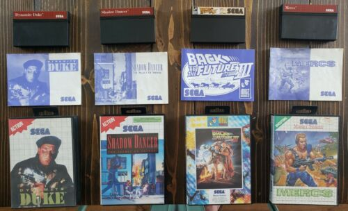 4 PAL Sega Master System Game Lot Dynamite Duke Mercs Shadow Dancer All Complete