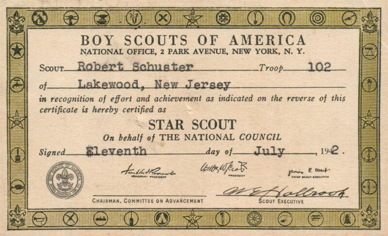 BOY SCOUTS OF AMERICA CERTIFICATE 1942 VINTAGE POSTCARD