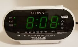 Sony Dream Machine Dual Alarm Clock AM/FM Radio Model ICF-C318 White
