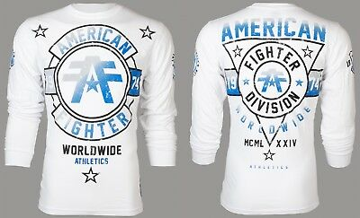 AMERICAN FIGHTER Mens LONG SLEEVE T-Shirt SILVER LAKE Athletic WHITE Gym UFC $54