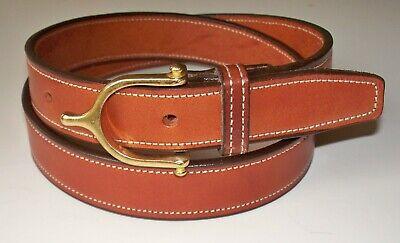 Mens 3D Belt Company Brown Full Grain Leather Belt Neon Blue Stitching USA Made!