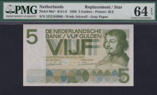 Netherlands 5 gulden 1966, Vondel Replacement / STAR, PMG 64 EPQ, Pick 90a