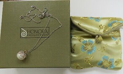 Honora 12mm Cultured Freshwater Button Pearl Pendant and Chain - New - Boxed