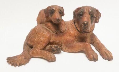 Antique 4.5in Signed J TJ St Bernard Dog Pup Black Forest Wood Carving German 44