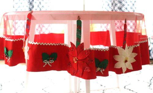 "76"" ROUND VTG 1950s HANDMADE CHRISTMAS TABLECLOTH RED NET, SEQUINS, RED FELT"