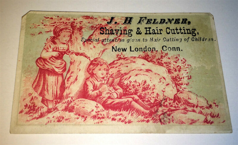 Antique Victorian American Occupational Feldner Barber New London, CT Trade Card