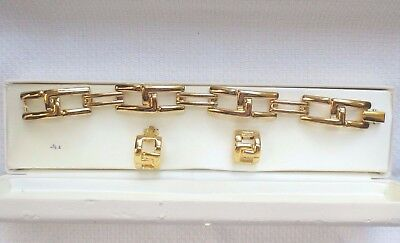 Estate Vintage CHARTER CLUB Gold-Tone LARGE BOLD LINK BRACELET CLIP Earrings SET