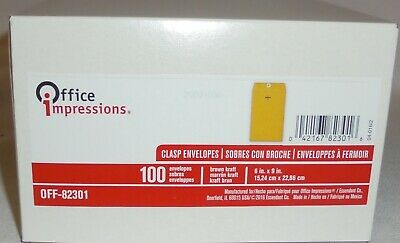 Office Impressions - Clasp Envelopes Glue 6 X 9 Brown Kraft - 100 Count