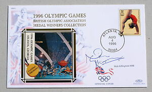 OLYMPIC-GAMES-ATLANTA-1996-BENHAM-COVER-SIGNED-BY-SWIMMER-NICK-GILLINGHAM