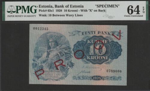 Estonia 10 Krooni 1928 UNC SPECIMEN PMG64