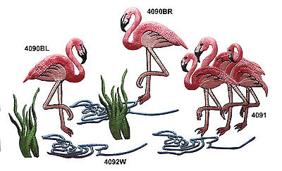 Pink Flamingo Bird Water Weed Water Embroidery Iron On Applique Patch