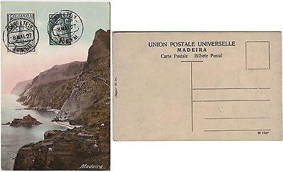 Madeira 1927, mehrfarb. Ansichtskarte ungebraucht (Frankatur vorderseitig)