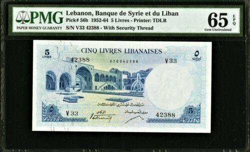 Lebanon 5 Livres 1961 Pick-56b GEM UNC PMG 65 EPQ