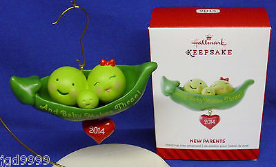 Hallmark Ornament New Parents 2014 And Baby Makes Three Peas in a Pod NIB Cute! ()