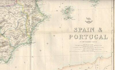 1863  LARGE ANTIQUE MAP - DISPATCH ATLAS- SPAIN & PORTUGAL