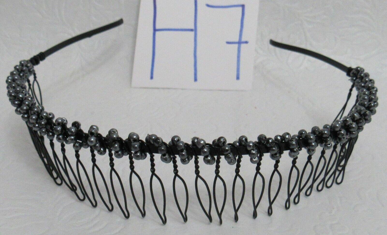metal comb headband with beads new black